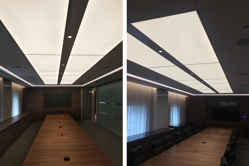LED stretch fabric ceilings