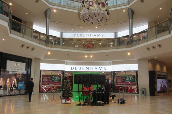 Debenhams department store illuminated facade