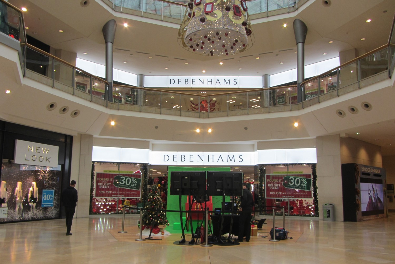 Debenhams department store illuminated facade